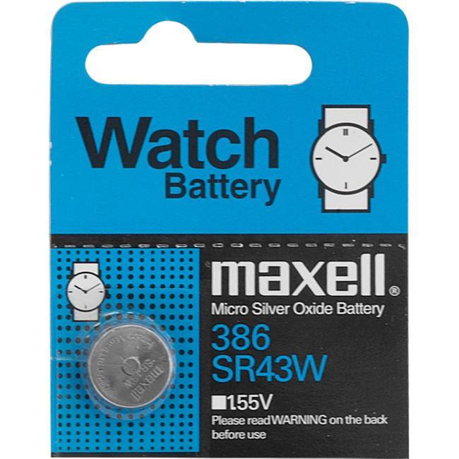 MAXELL Klockbatteri Silveroxid 386/SR43W