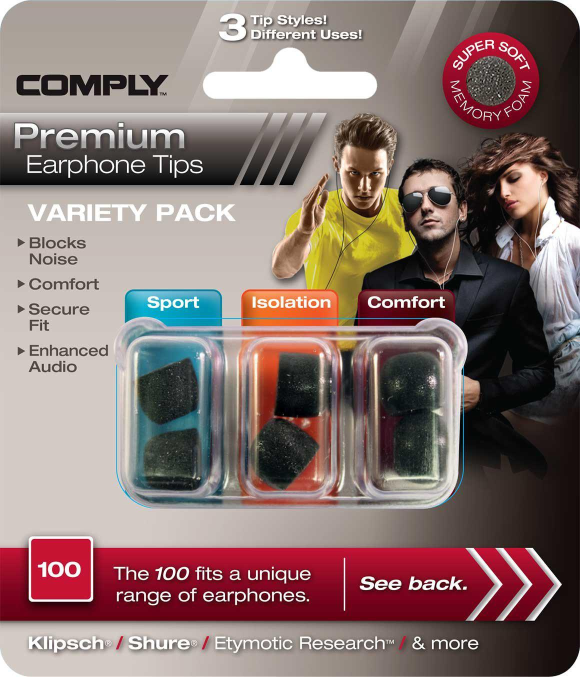 COMPLY Variety Pack Hörlurspropp 100 Small (3 Par)