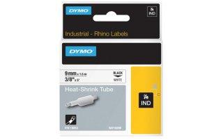 DYMO Rhino Shrinktube 9 mm svart på vit