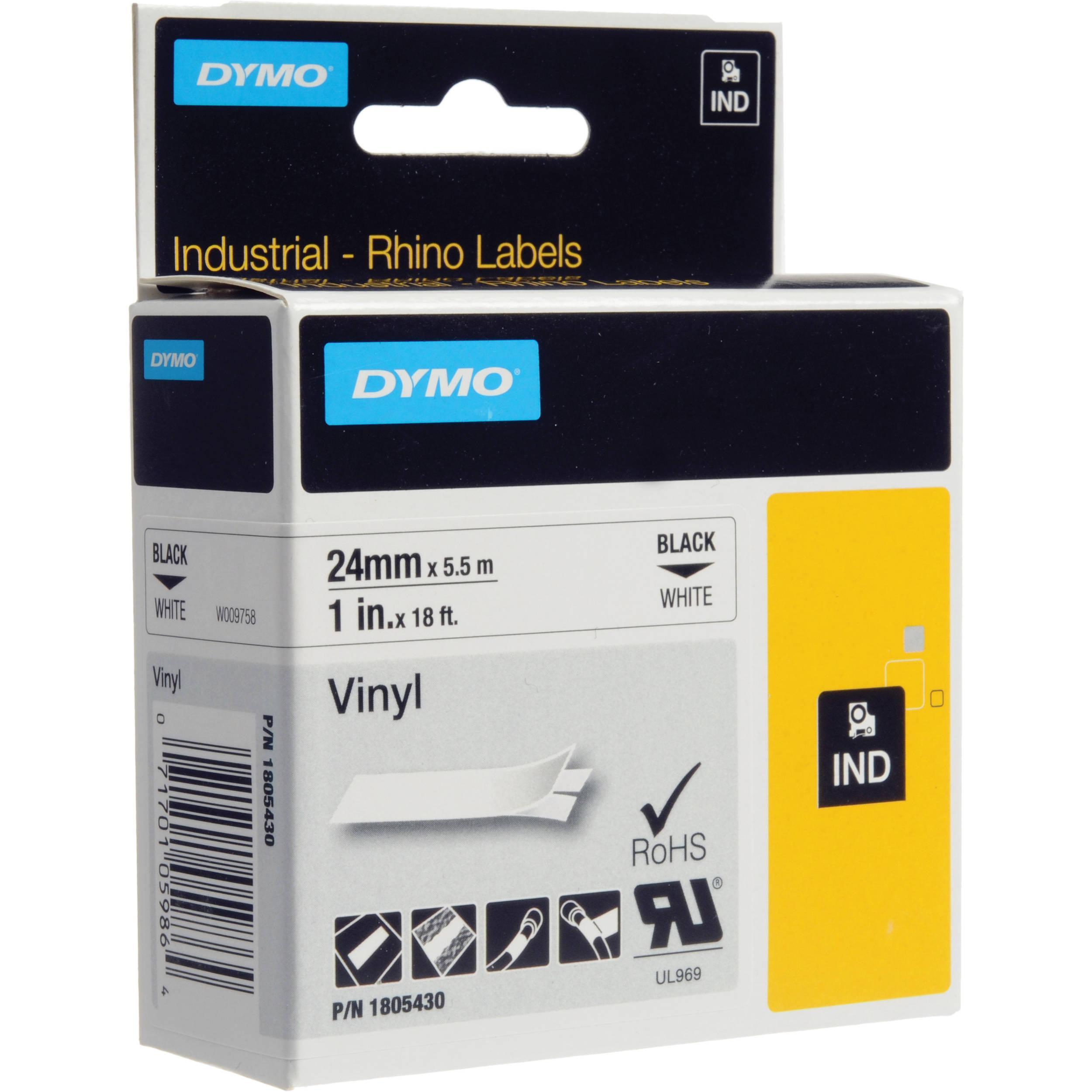 DYMO Rhino 24 mm svart on vit vinyl