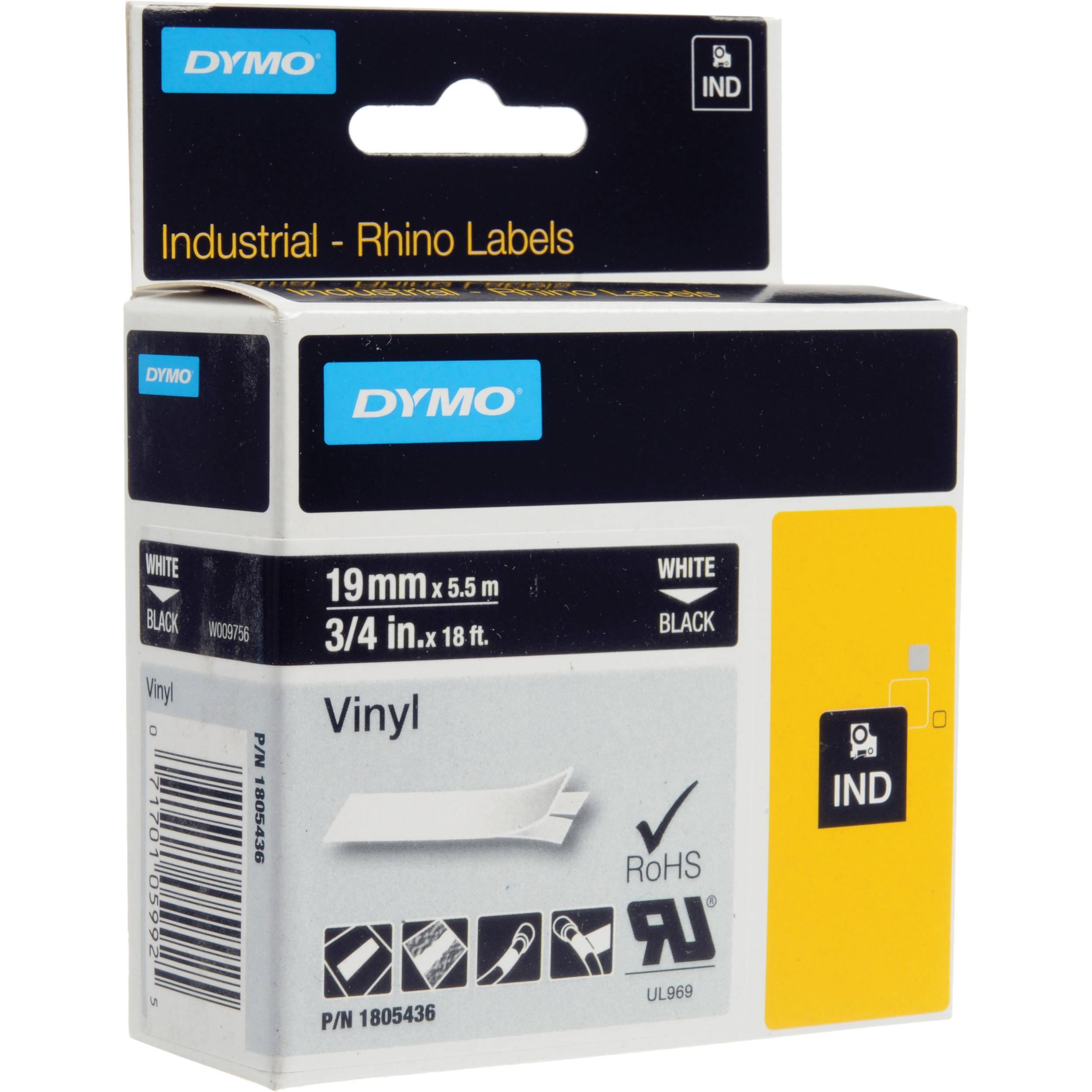 DYMO Rhino 19 mm vinyl vit på svart