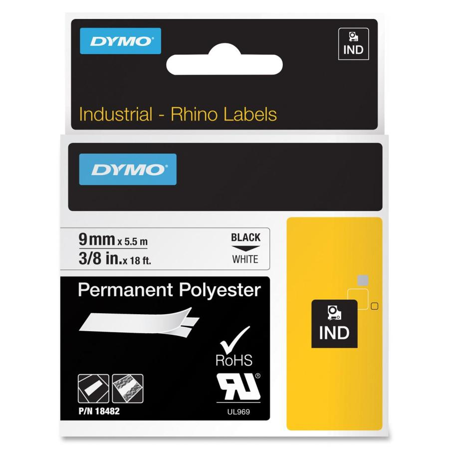 DYMO Rhino 9 mm Perm Poly svart på vit