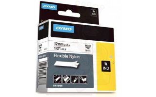 DYMO Rhino 12 mm FlexiBle nylon svart på vit