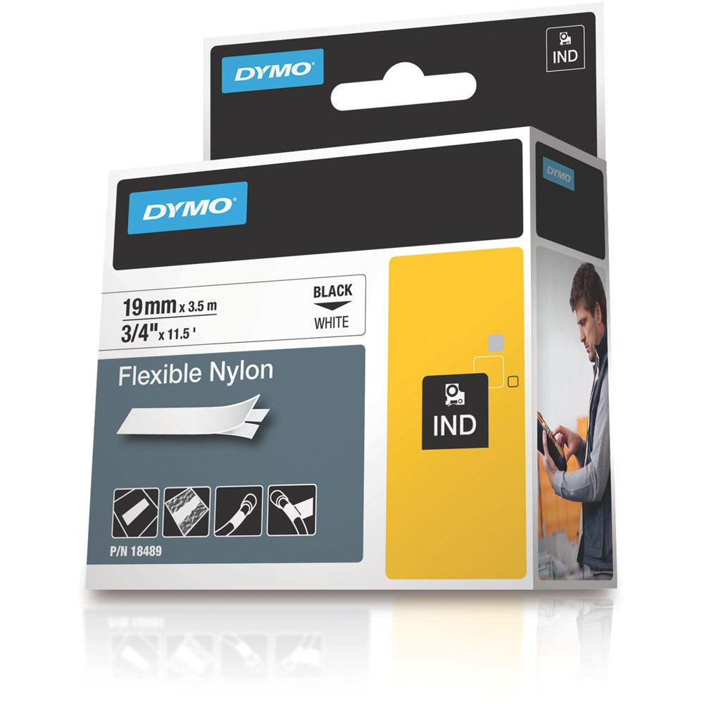 DYMO Rhino 19 mm FlexiBle nylon svart på vit
