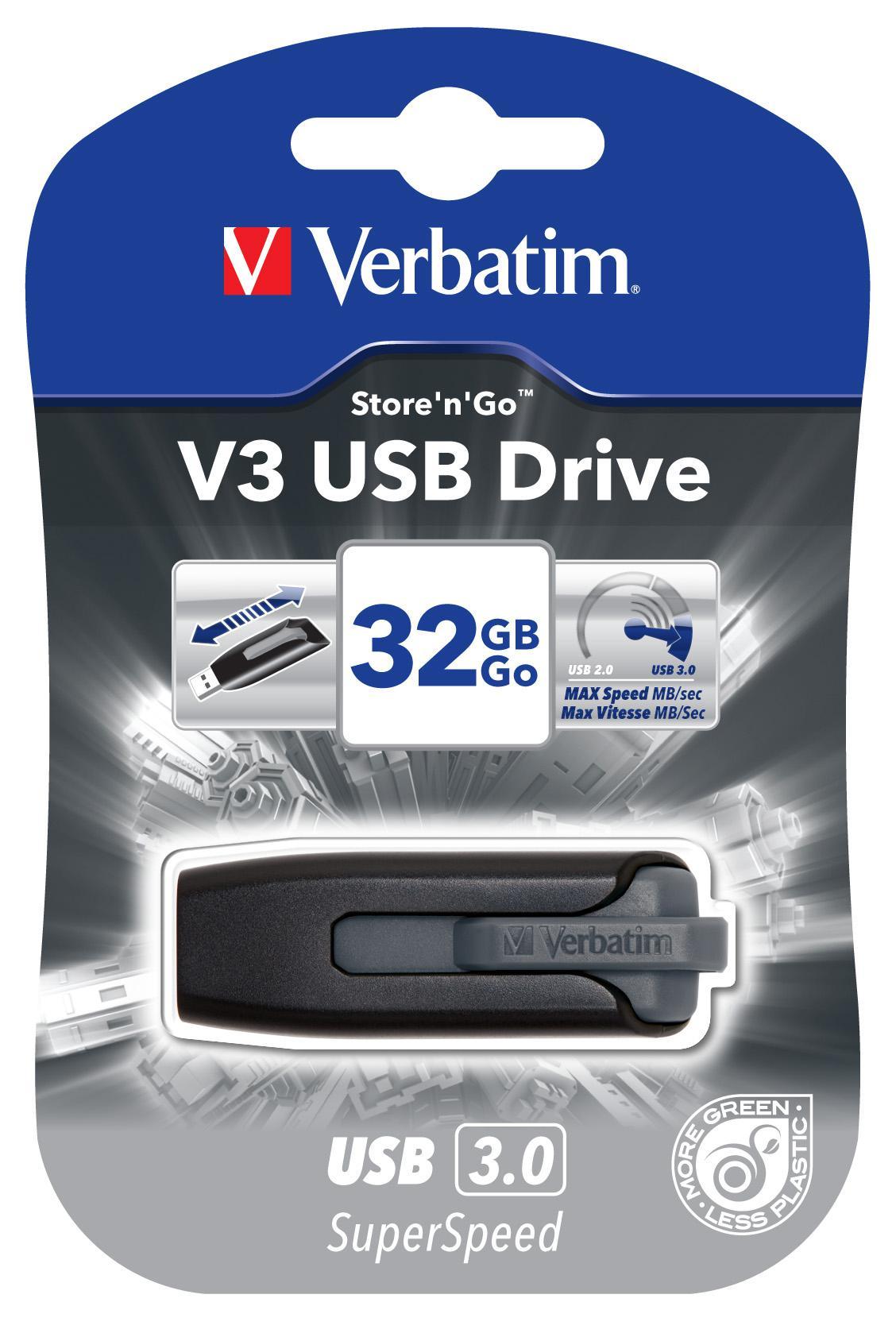 VERBATIM V3 USB Drive 32GB Svart