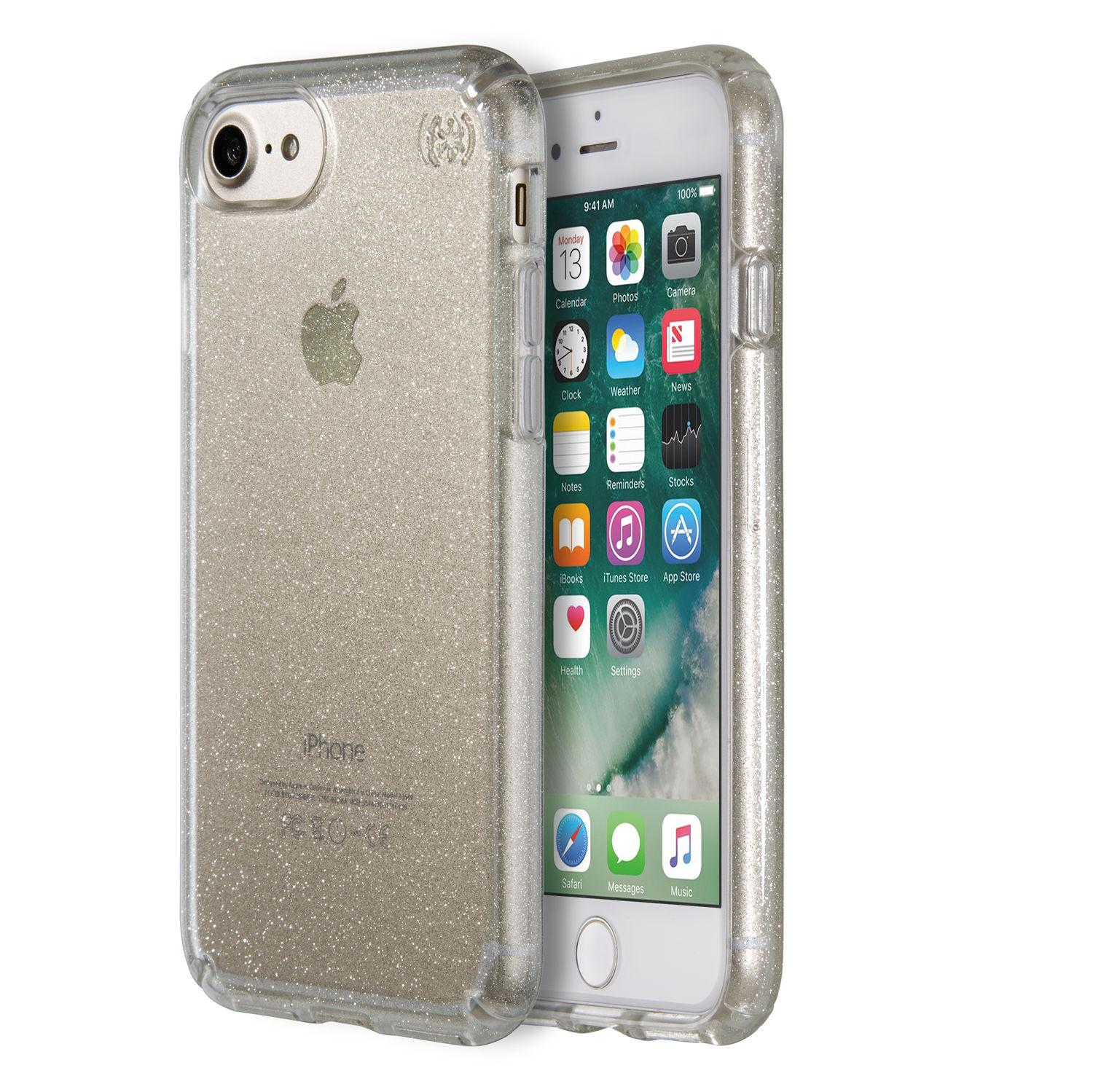 SPECK iPhone 7 Presidio Clear Genomskinlig med Guld Glitter