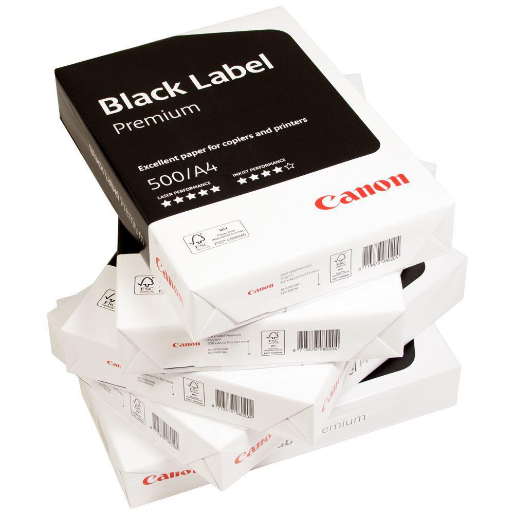 Skrivarpapper A4 hålat kopieringspapper Canon Black Label, lösark