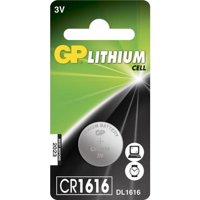 GP Lithium Knappcell 3V Batteri CR1616