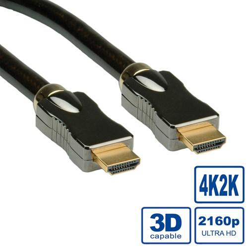 ROLINE HDMI Ultra HD-kabel + Ethernet M/M, 2,0 m