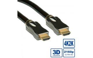 ROLINE HDMI Ultra HD-kabel + Ethernet M/M, 3,0 m