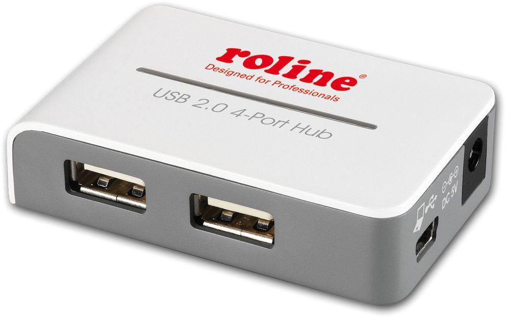ROLINE USB 2.0 Hub med 4 Portar och Strömförsörjning