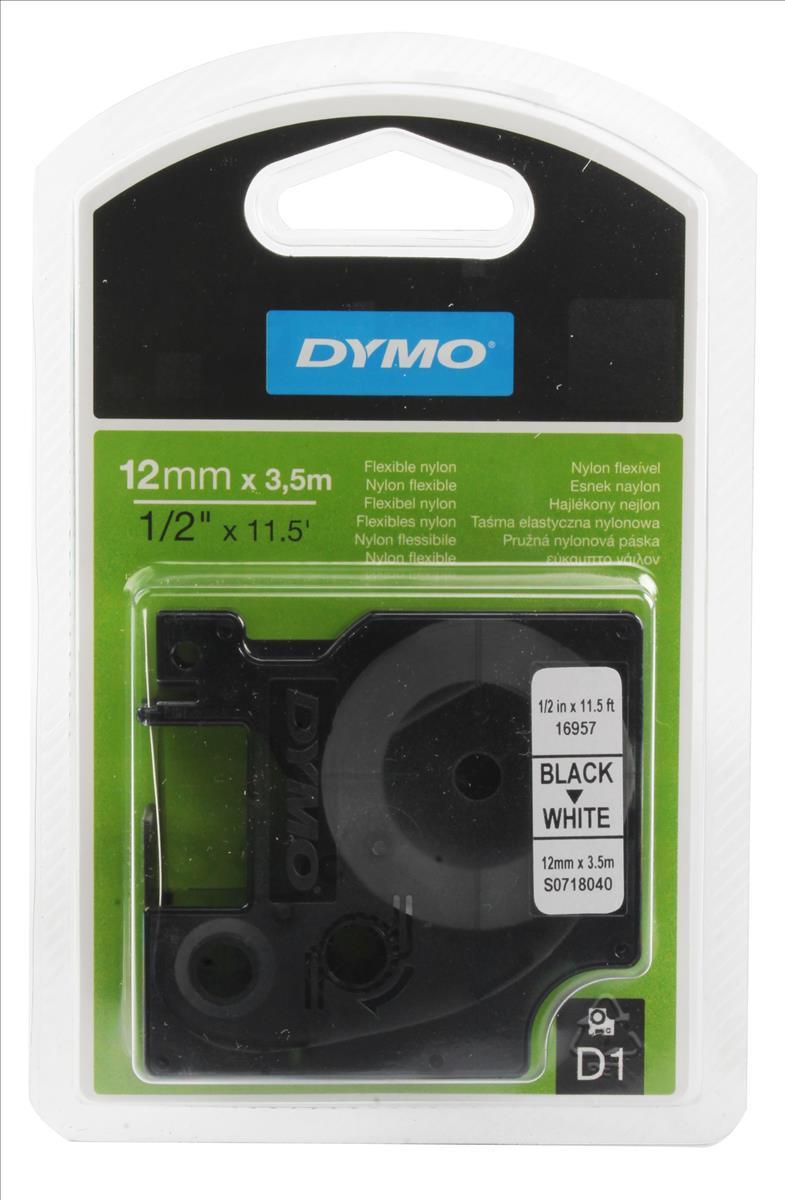 DYMO D1 Flex-Tape svart på vit 12mm