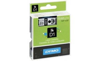DYMO D1 Etikettape svart på Transparent 12mm x 7m