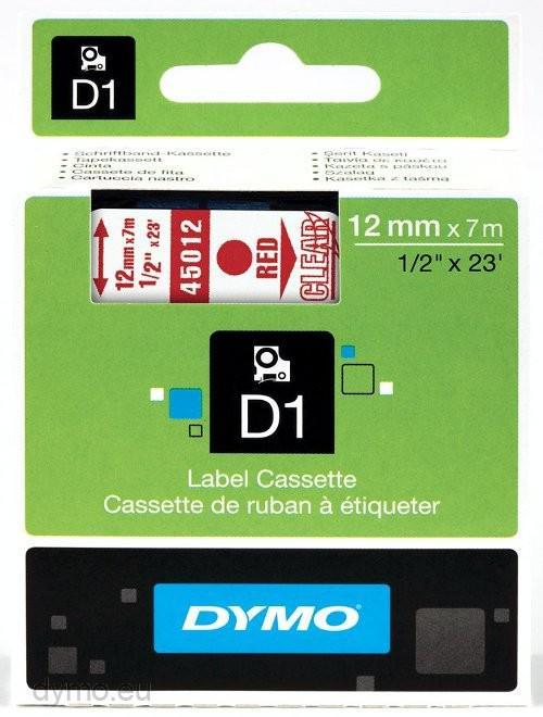 DYMO D1 Etikettape röd på Transparent 12mm x 7m