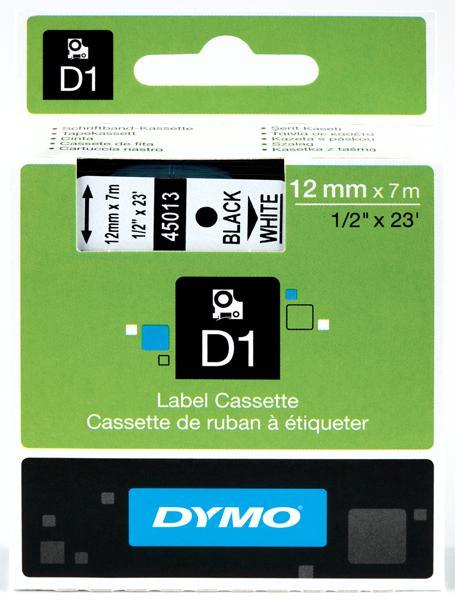 DYMO D1 Etikettape svart på vit 12mm x 7m