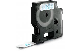 DYMO D1 Etikettape blå på vit 12mm x 7m