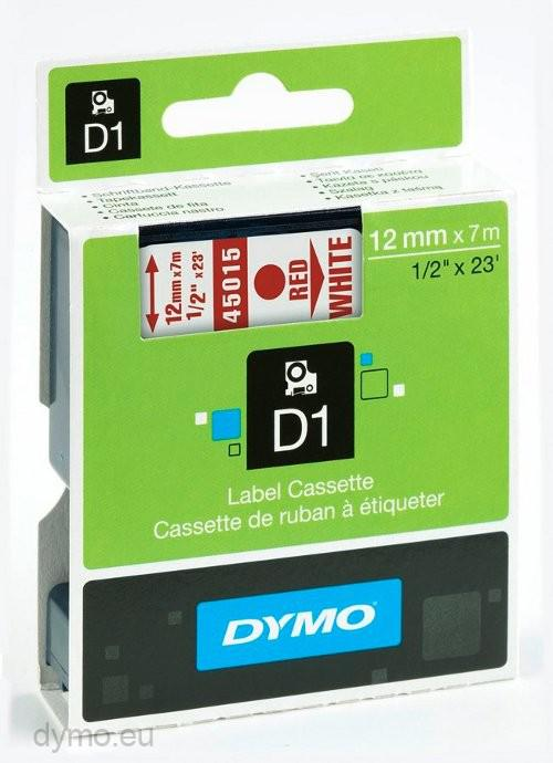 DYMO D1 Etikettape röd på vit 12mm x 7m