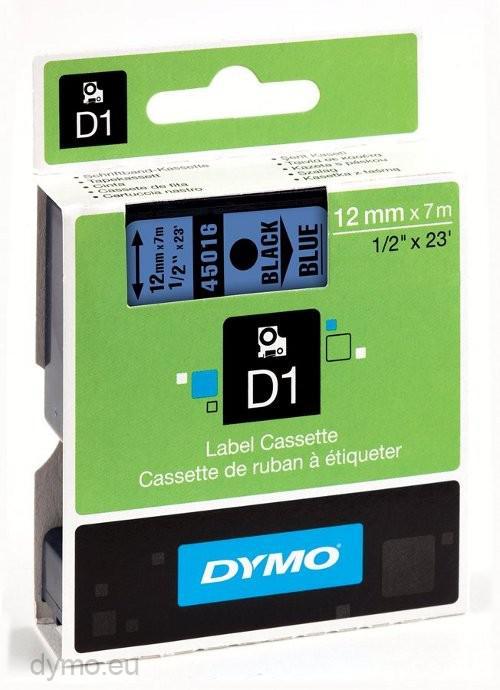 DYMO D1 Etikettape svart på blå 12mm x 7m
