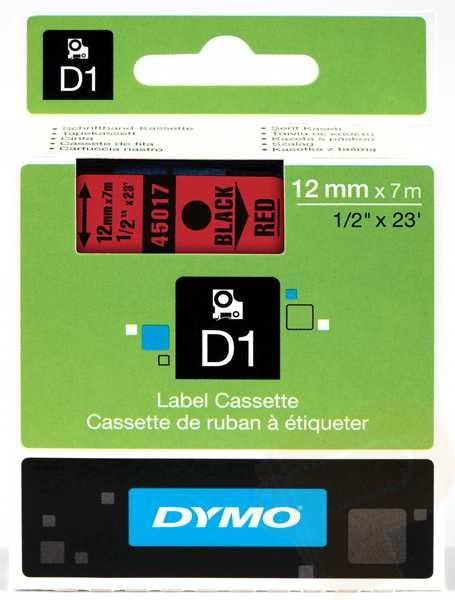 DYMO D1 Etikettape svart på röd 12mm x 7m