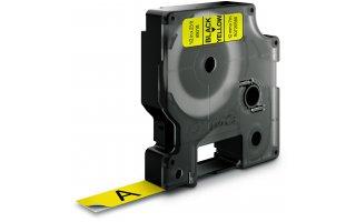DYMO D1 Etikettape svart på gul 12mm x 7m