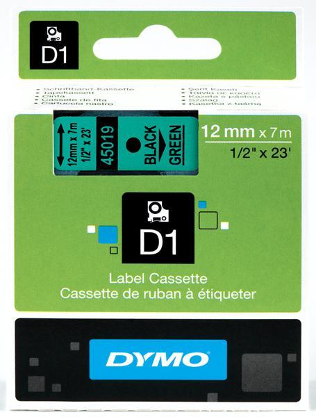 DYMO D1 Etikettape svart på grön 12mm x 7m
