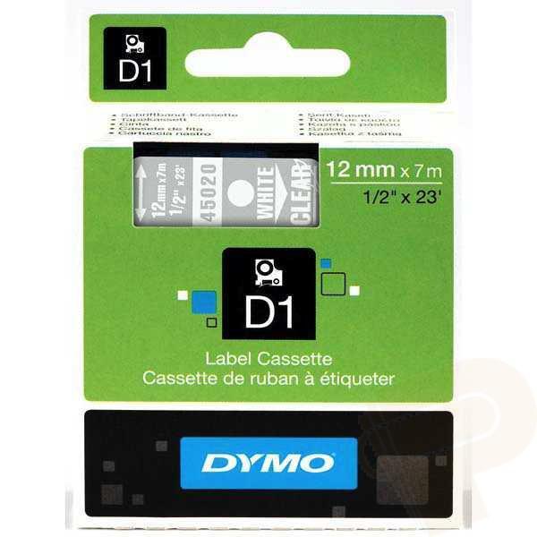 DYMO D1 Etikettape vit på transparent 12mm x 7m