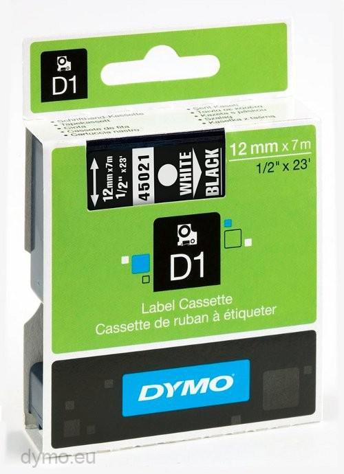 DYMO D1 Etikettape vit på svart 12mm x 7m