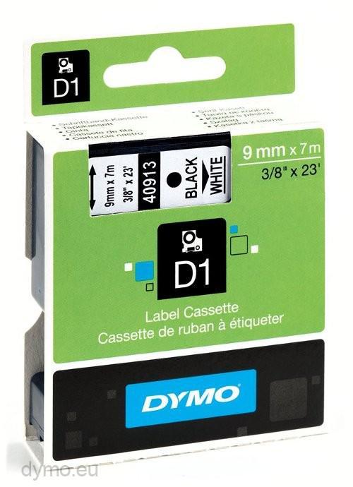 DYMO D1 Svart på vit laminerad tape 9mm x 7m