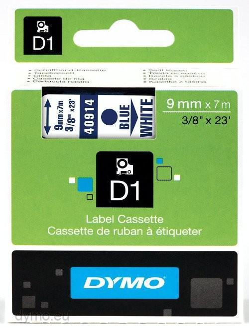 DYMO D1 Blå på vit laminerad 9mm x 7m