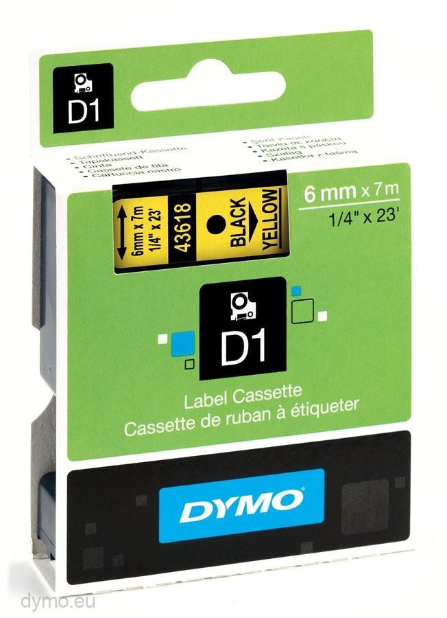 DYMO D1 Etikettape svart på gul 6mm x 7m