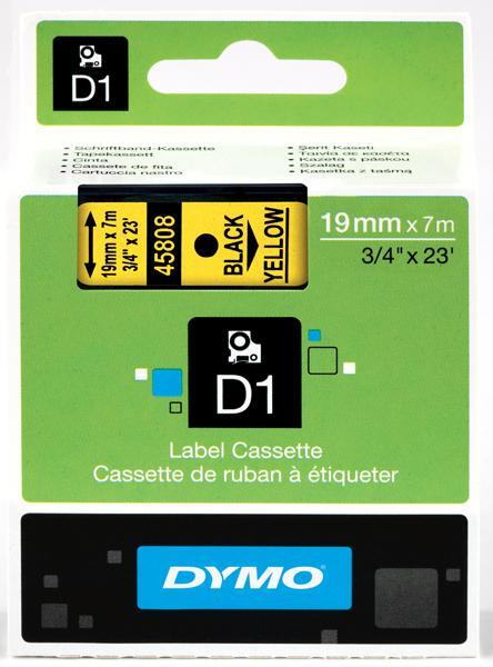 DYMO D1 Tape svart på gul 19mm x 7m