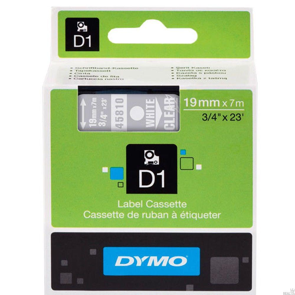 DYMO D1 Etikettape 19 mm Vit/Transparent