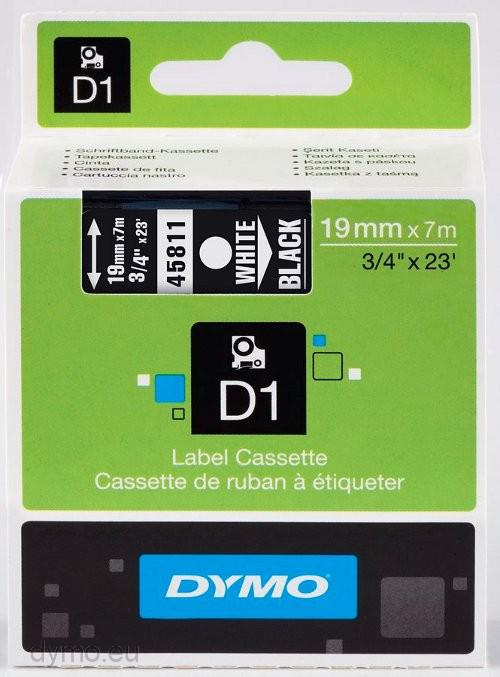 DYMO D1 Tape vit på svart 19mm x 7m