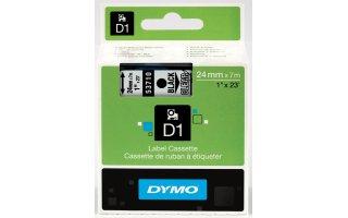 DYMO D1 Etikettape svart på transparent 24mm x 7m