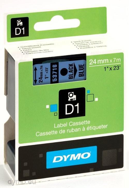 DYMO D1 Etikettape svart på blå 24mm x 7m