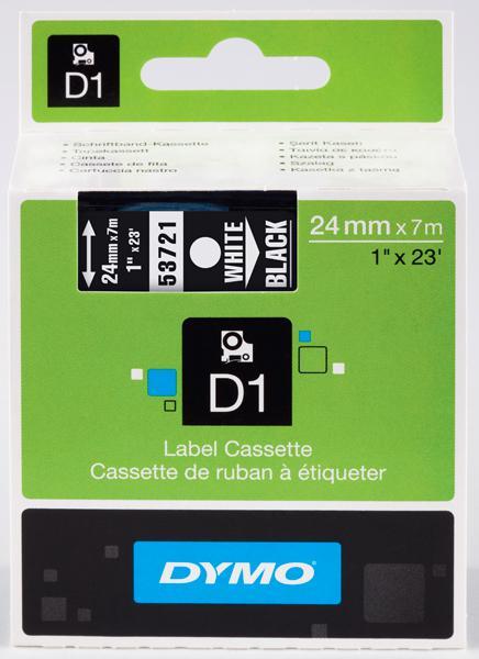 DYMO D1 Etikettape vit på svart 24mm x 7m